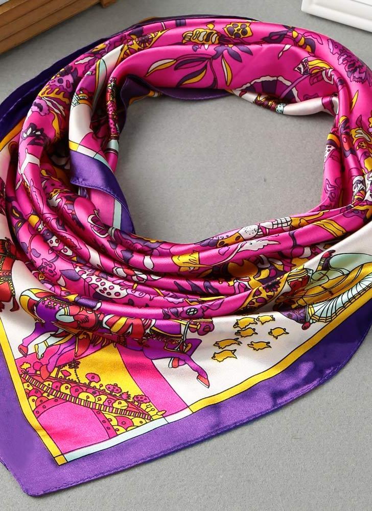 Moda satén de las mujeres pañuelo cuadrado de la bufanda de contraste de impresión delgada del mantón de la vendimia