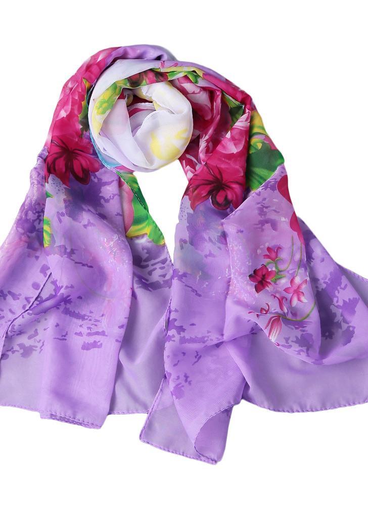 f944f6bebd15 Nouveau Mode Femmes Foulard en mousseline de soie coloré Motif imprimé  floral Gradient long Châle Pashmina