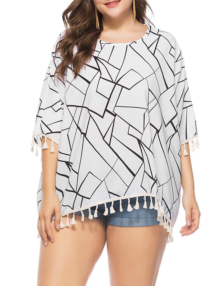 un tamaño blanco Contraste de la blusa del tamaño extra grande de ...