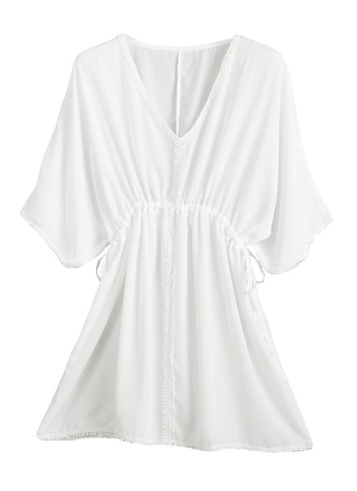 Boho Plunge Deep V Neck Pompom Shift Beachwear White Dress