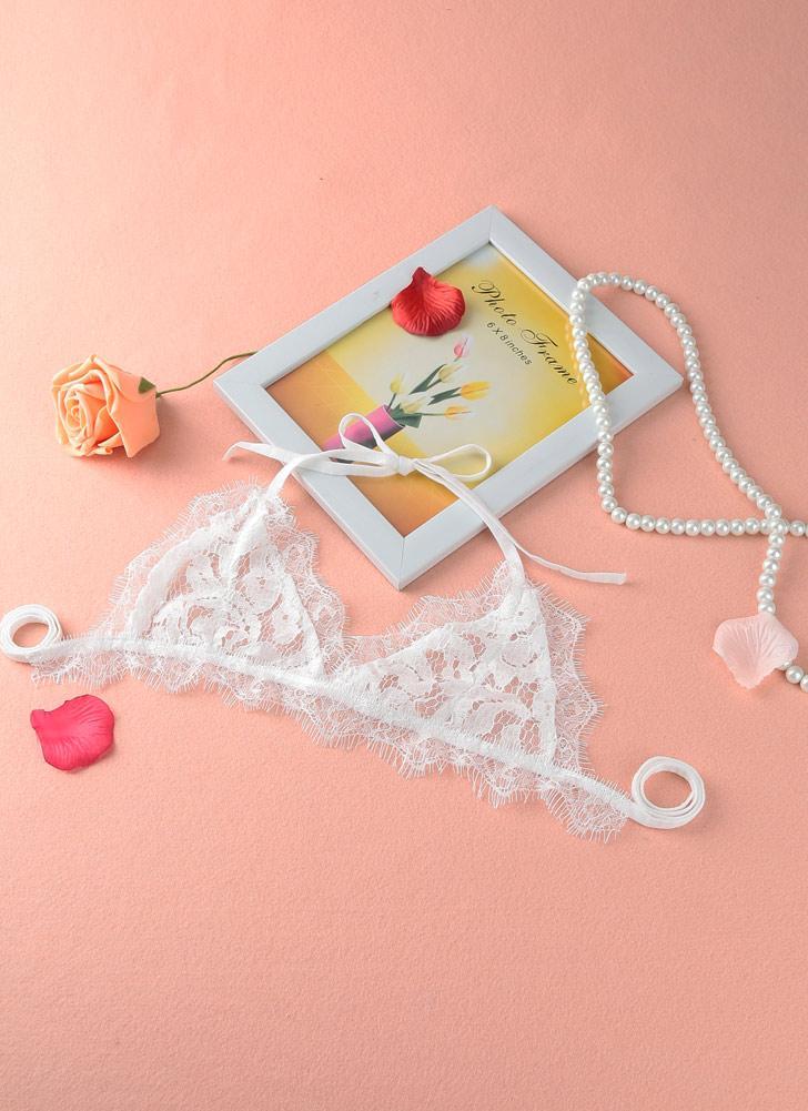 Nouvelles femmes Sexy Lingerie dentelle pure creux des lacets de couleur unie Backless Bra occasionnels sous-vêtements blanc/noir