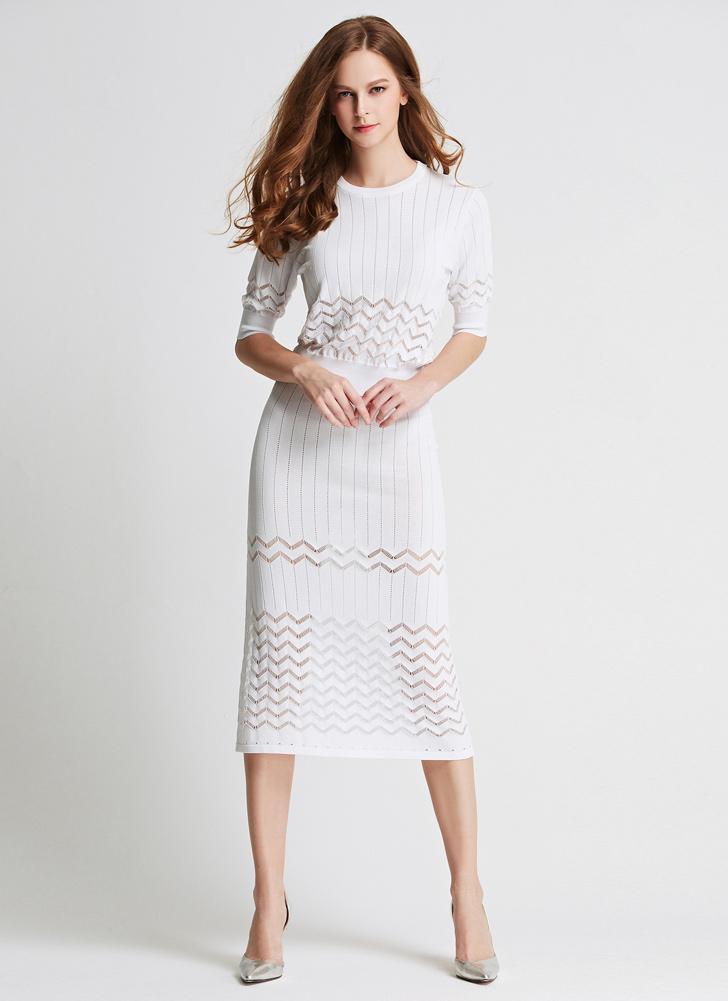 e9ef92d218dd6c Neue Mode Frauen zweiteiliges Set Kleid Strick aushöhlen O-Ausschnitt  Halbarm figurbetonten Rock Party Kleid