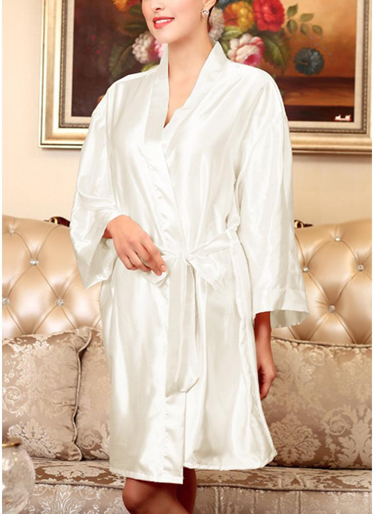white one size Women Silk Satin Night Robe Bathrobe Short Kimono ...