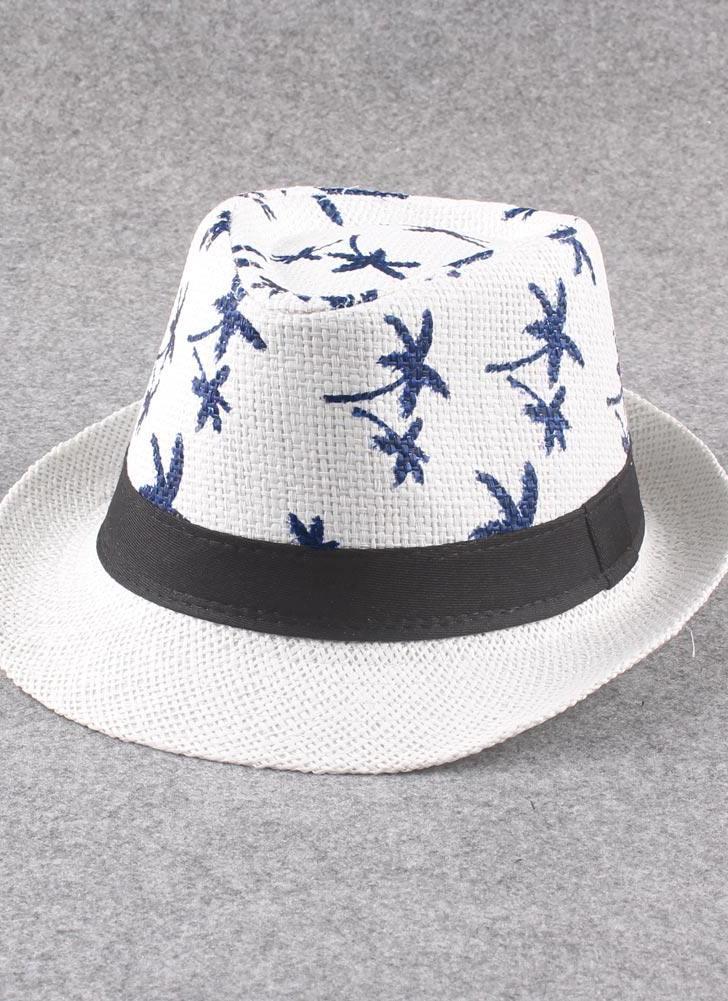 blanco Nuevo sombrero Panamá de paja Unisex Vintage contraste Color ...