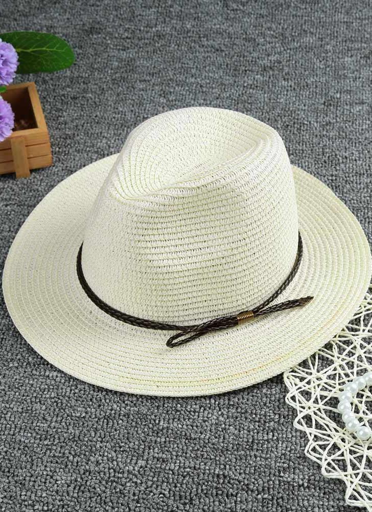 Moda unissex chapéu de palha cor sólida aba larga trançado cinto verão  praia chapéu Chapéu Panamá c88f5072ab6