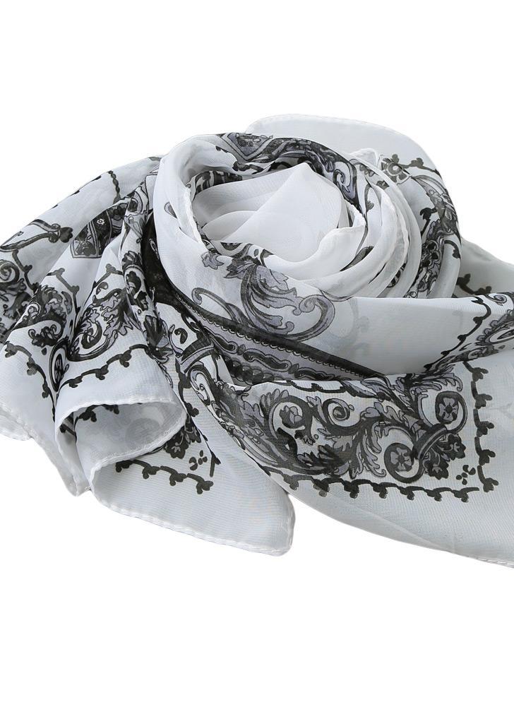 Nouvelle Mode féminine en mousseline de soie Echarpe Folding Fan Floral Print long Châle Pashmina Plage élégante écharpe mince