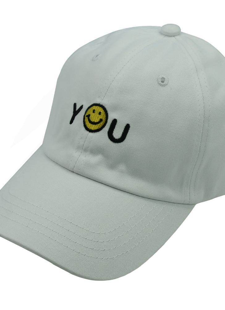Donne Uomini Baseball Caps ricamati lettere Smiley Emoticon Hip Hop Sport Cap  cappello bianco   nero 6e796140a3e8