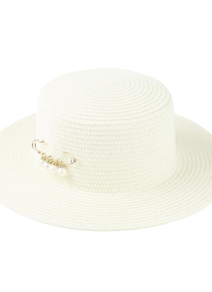 Cappello per il sole di modo delle donne cappello di paglia Solid Tesa larga  Bead estate 48c0377bd384