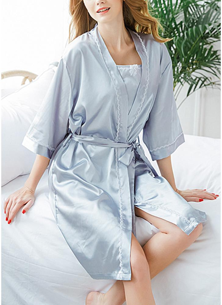Frauen dreiteilige Set Nachtwäsche Robe Tanktop Shorts lose passende Pyjama Set
