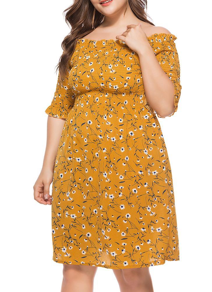 Vestido largo suelto flojo ocasional de la impresión floral del cuello de la raya del vestido de las mujeres más tamaño