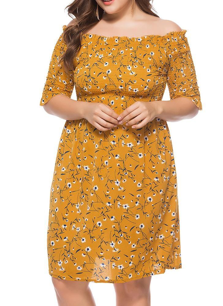 Yellow One Size Women Plus Size Dress Slash Neck Floral Print Casual