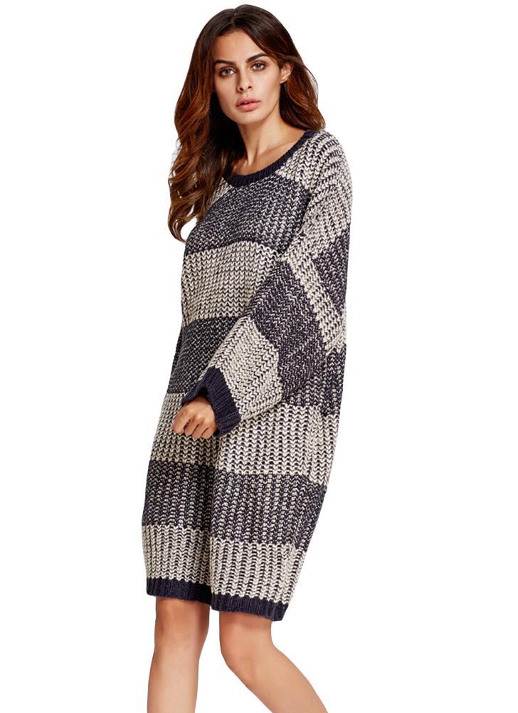 Donne Maglione Vestito a righe a contrasto di colore girocollo maniche  pipistrello di base mini vestito 1b7ca396799