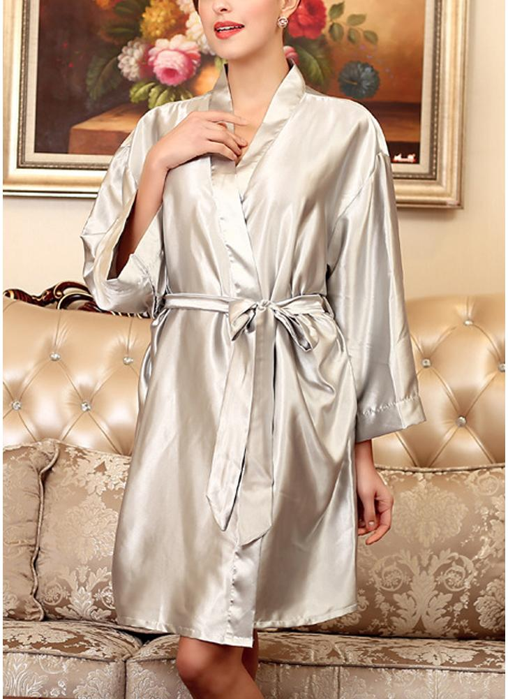 grey one size Women Silk Satin Night Robe Bathrobe Short Kimono ...