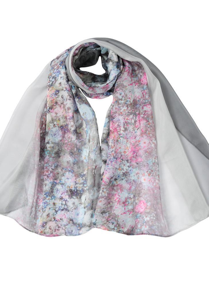 New Vintage Femmes en mousseline de soie Foulard imprimé floral Contraste Couleur long Thin Châle Pashmina