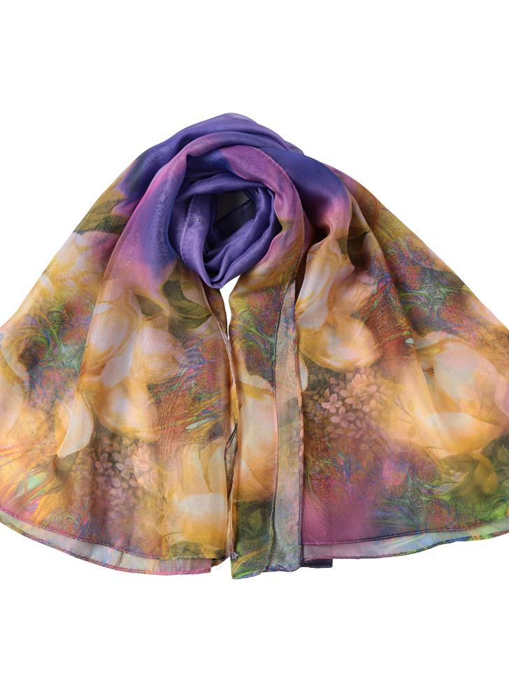 New Women Chiffon Scarf Contrast Floral Print Double Layer Pearl Long Shawl Elegant Scarf Beach Cover