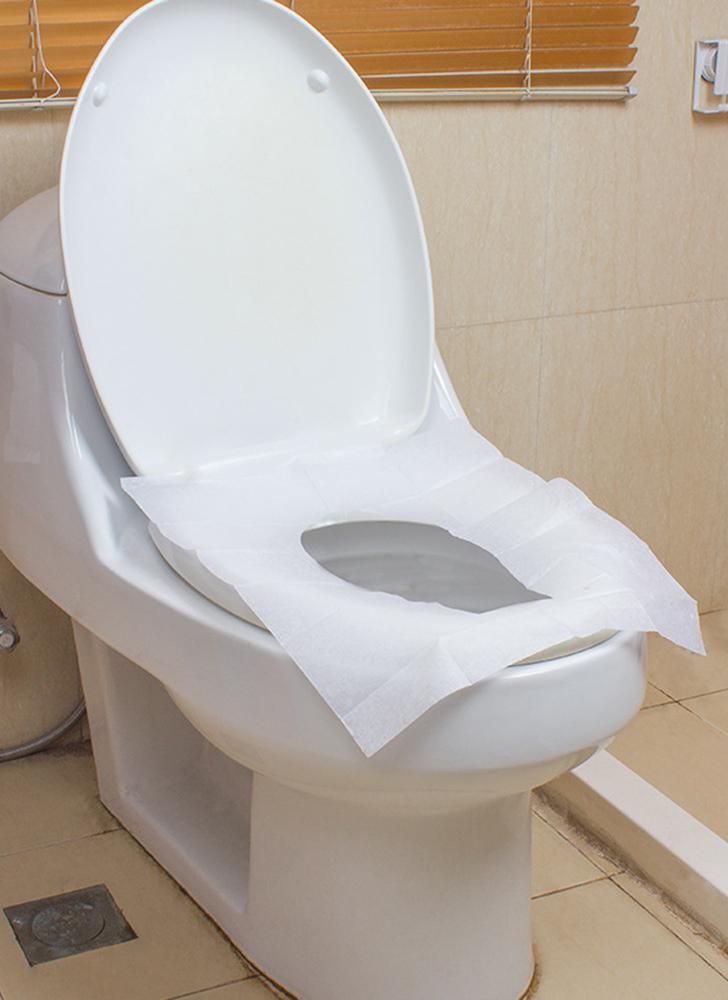 10Pcs/Pack Waterproof Travel Disposable Toilet Seat Cover Mat Anti-bacterial Toiletery Paper Pad Travel Camping Bathroom Accessiories Sanitary Tool