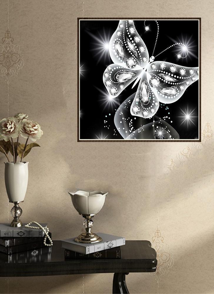 10 * 10 Zoll / 25 * 25cm DIY 5D Diamant Malerei Kit Schmetterling Harz Strass Mosaik Stickerei Kreuzstich Handwerk Home Wall Decor