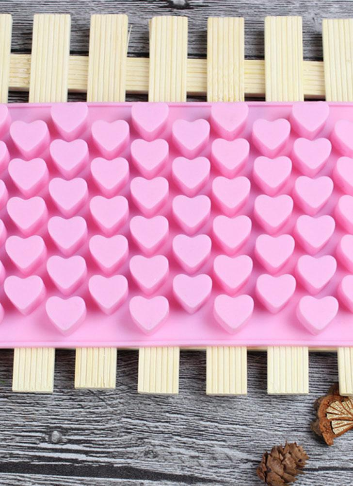 55 Hole Heart Shape Love Candy Silicone Decorating Mold Ice Cube Tray Silicone Chocolate Sugar Paste Tool Cookie Muffin Baking Pan