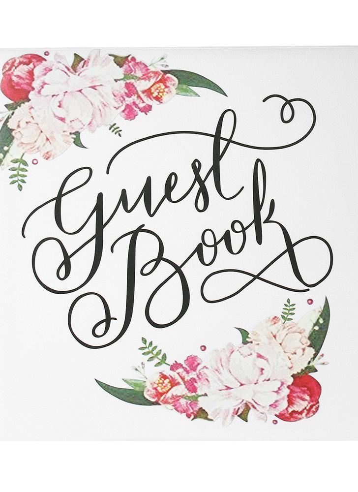 72-Pages Bianco raso floreale Copertina Guest Guest Wedding Bookcover Doppio lato Guestbook di nozze