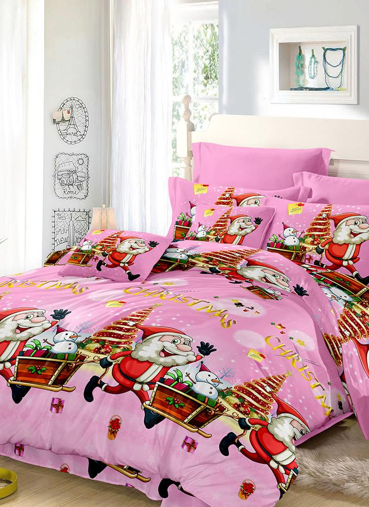 1 king christmas santa bedding set polyester 3d printed for Bed sheet decoration ideas