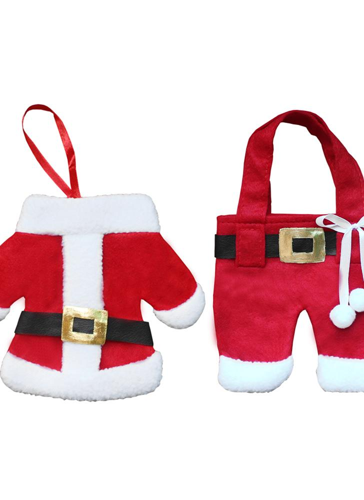 3 set di cappotti di Santa di Santa di Natale vestiti di posate di stile forchetta coltello cucchiaio borse Pocekts set ornamento di Natale ornamenti