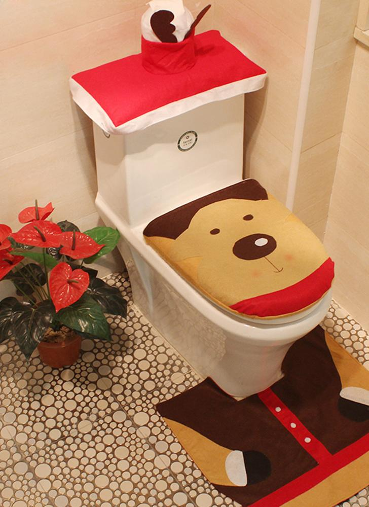 3pcs Set Christmas Bathroom Decorations Toilet Seat Cover U Shaped Rug Tank