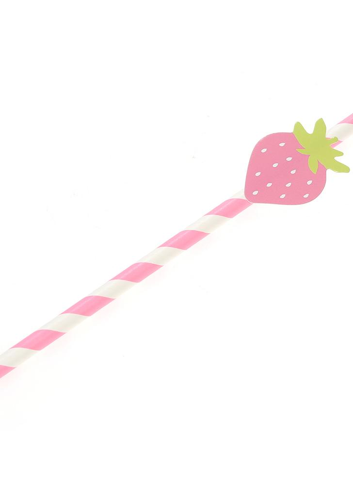 50 pcs / set couleur papier jetable papier à boire pailles pour anniversaire mariage piscine décorations de fête fournitures - fraise