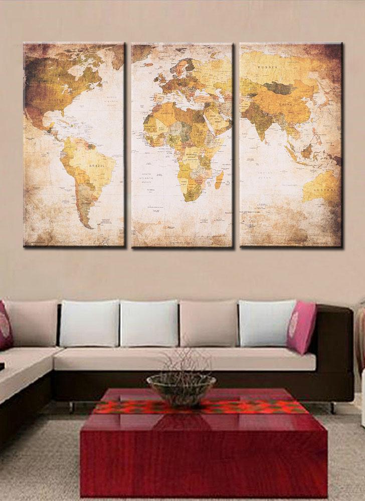 35 * 70cm HD stampato 3-Panel Frameless World Map Tela Pittura Arte della parete Immagini Decor per corridoio Soggiorno camera da letto