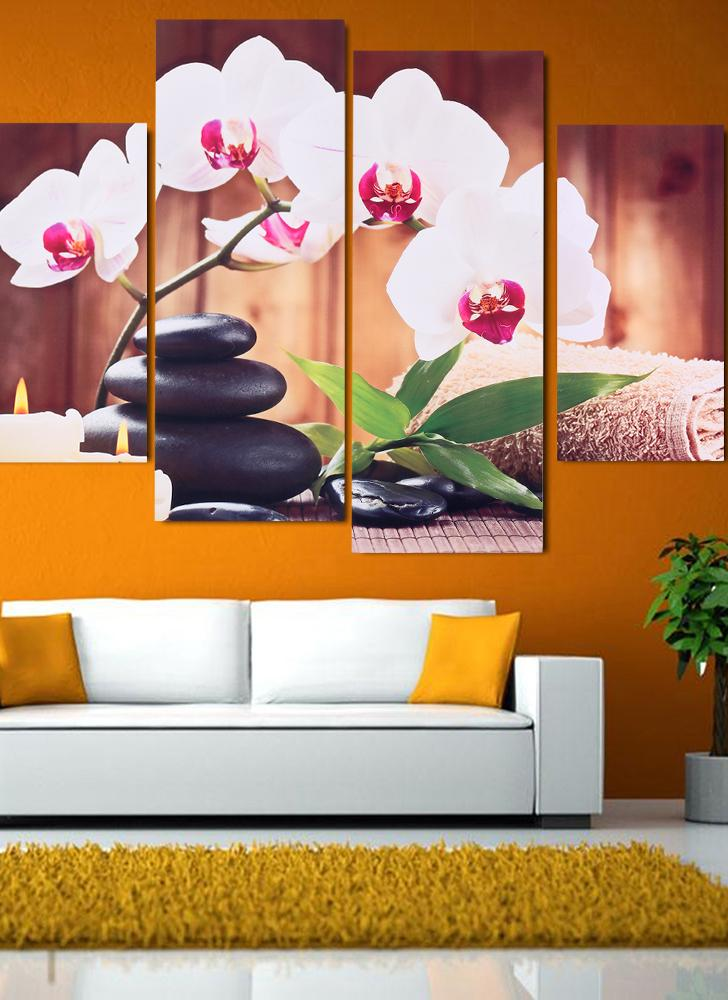HD Printed 4-Panel Unframed Butterfly Orchid Pattern Canvas Painting Wall Art Modular Pictures Decor for Home Living Room Bedroom