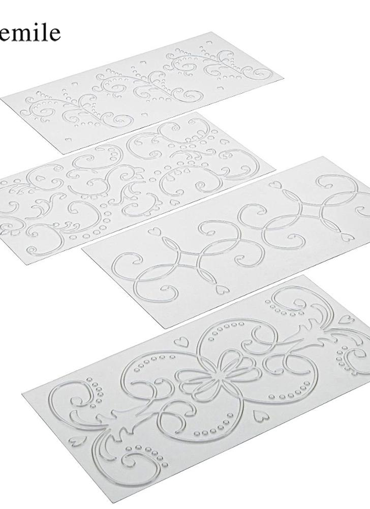 4PCS Roll Vine Plaid Plastic DIY Paper Cutting Dies Scrapbooking Embossing Folder Transparent Texture Mat Fonand Cake Biscuit Baking Mold