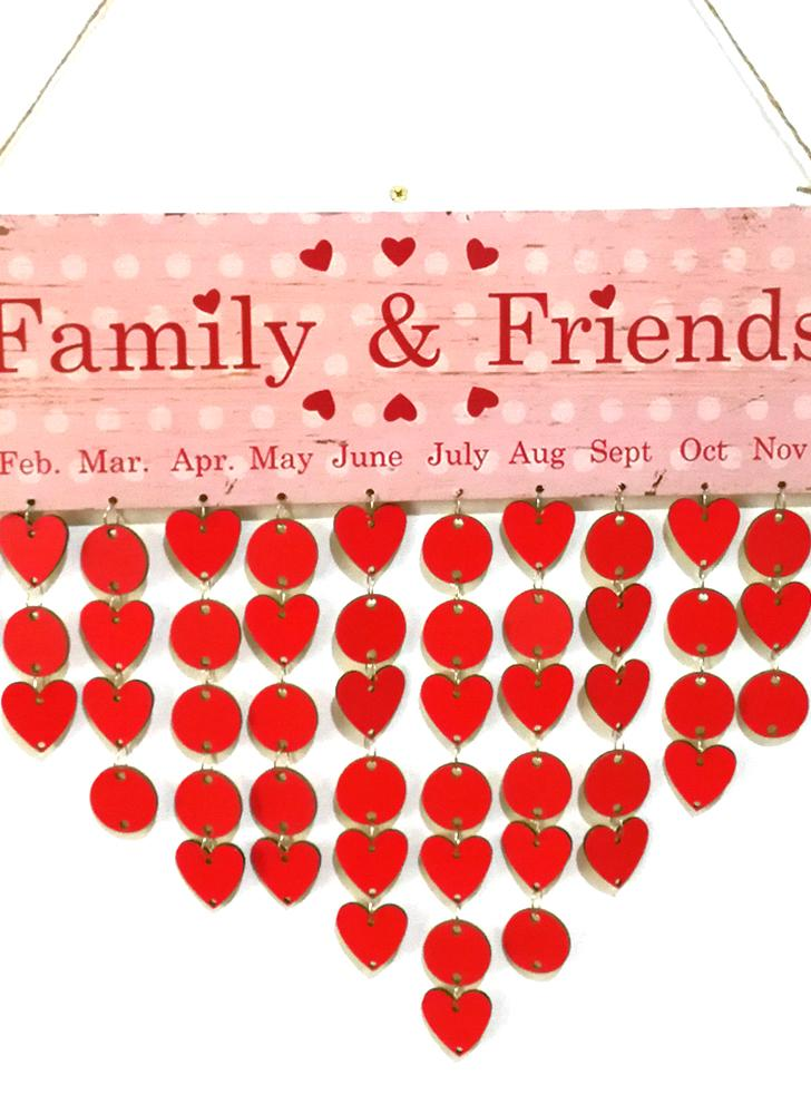 DIY Wood Family Friends Birthday Reminder Special Dates Planner Board Wooden Calendar Home Hanging Decor Gift Style 1