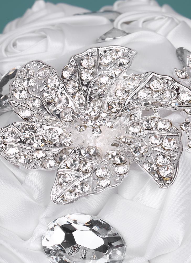 21cm handgemachte Hochzeit Brosche Strass Brautstrauß Satin Rose Blume mit künstlichen Perlen für Braut Hochzeit Zubehör dekoriert