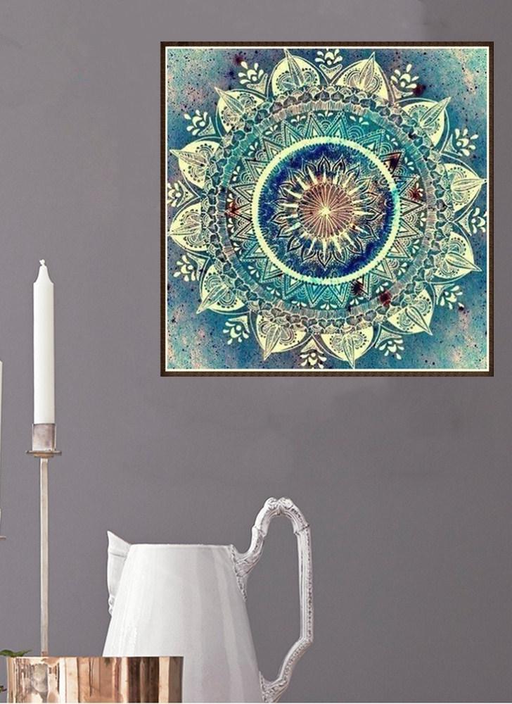 10 * 10 pulgadas / 25 * 25 cm DIY 5D Kit de Pintura Diamante Flor Resina Rhinestone Mosaico Bordado de punto de Cruz Artesanía Casa Decoración de La Pared