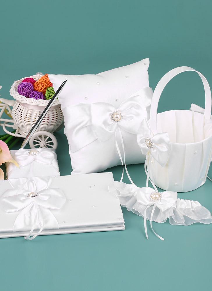 5pcs/set White Wedding Supplies Satin Flower Girl Basket + 7 * 7 inches Ring Bearer Pillow + Guest Book + Pen Holder + Bride Garter Set