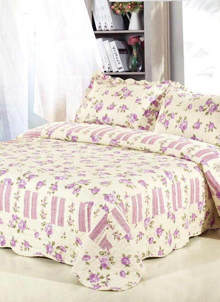 3pcs Bedding Set 230 * 230 CM fiore viola rosa stampato Pattern poliestere fibra Patchwork Quilt trapunta cuscino casi biancheria Home Textiles