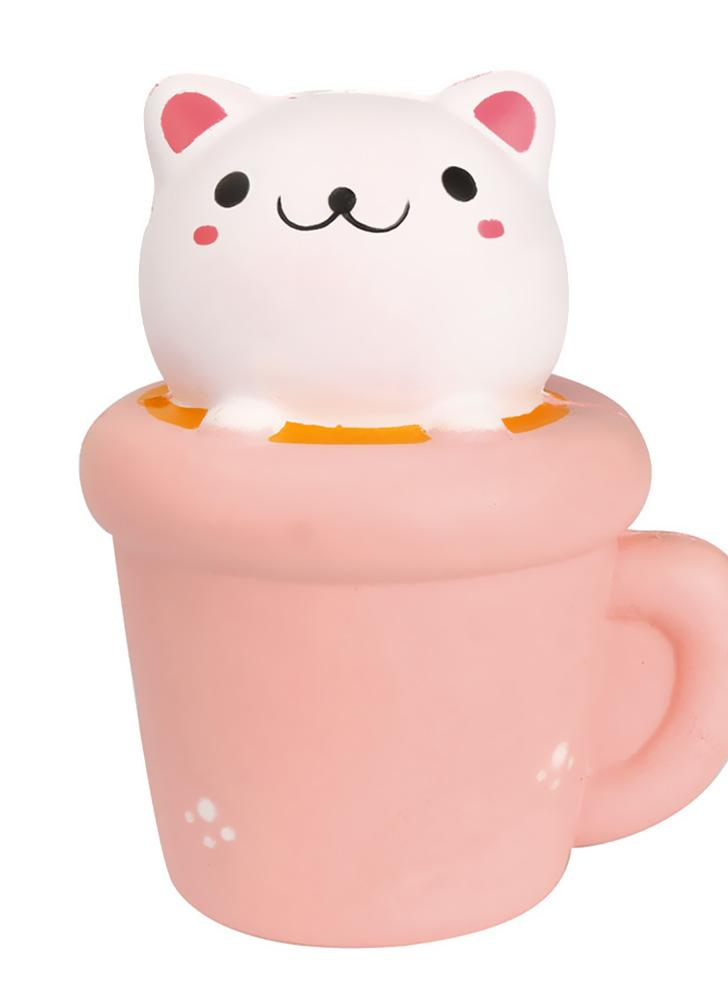 Cute Soft Squishy Simulation Cup Cat Toy Slow Rising Squeeze Toys ...