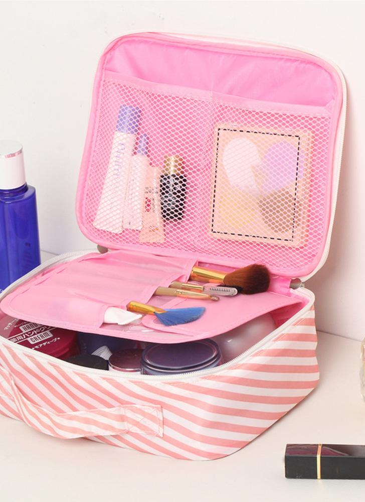 Flamingo Beautician Cosmetic Case Double Zipper Organizador de viagens para mulheres Waterproof Portable Large Capacity Storage Bag Sacolas de maquiagem Toiletry Kits A1