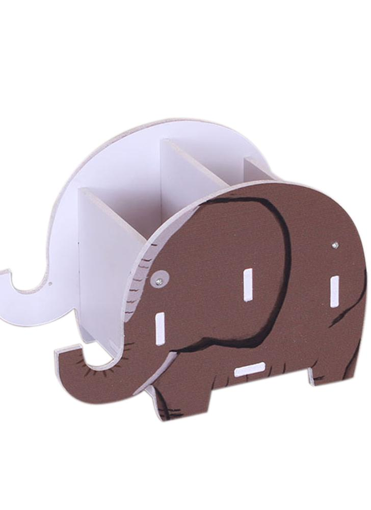 Wooden Storage Box Colorful Printing Elephant Shape Pen Container Mobile Phone Holder DIY Desktop Container