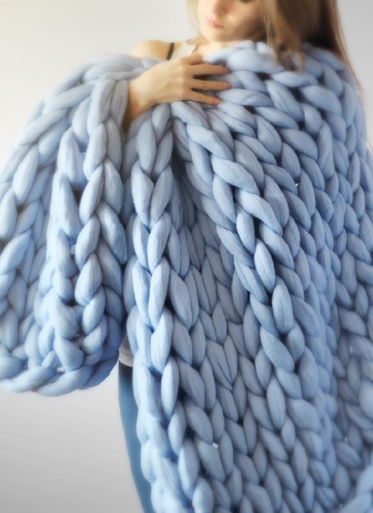 Chunky Tricoté À La Main Épais Couverture À La Main Fil Bulky Knit Throw Canapé Couverture pour Chambre Salon 1.6 kg 100 * 120 cm