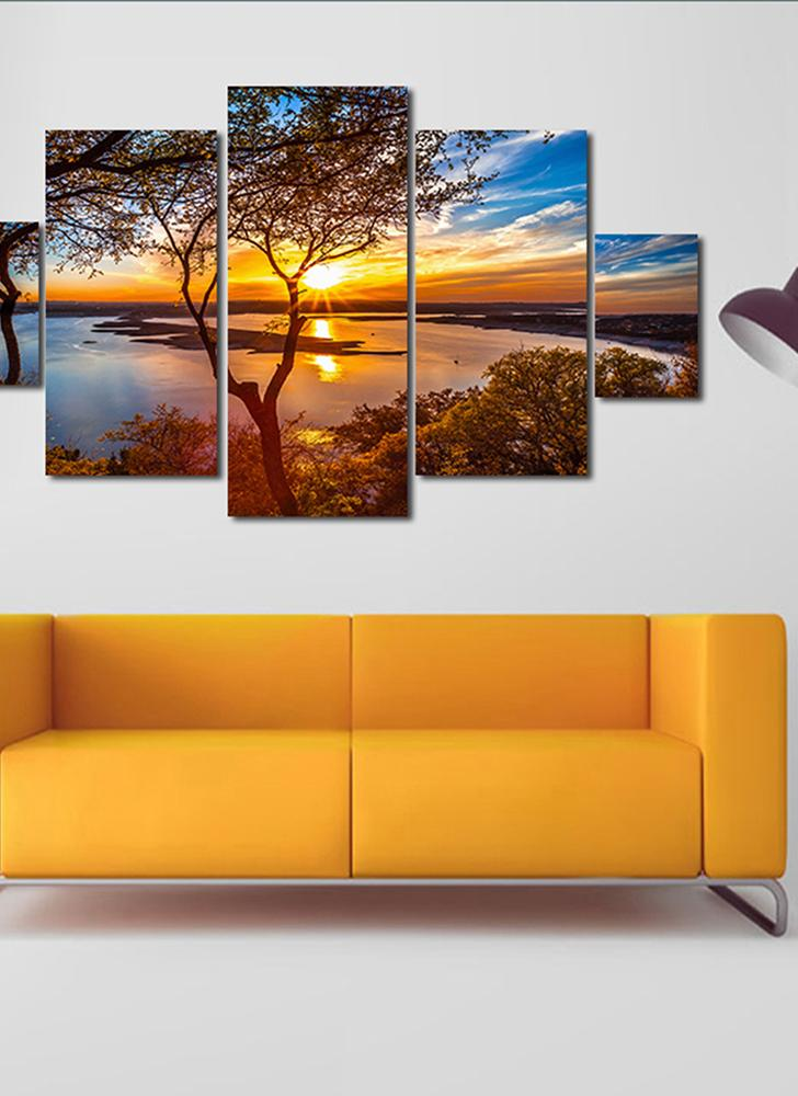 HD Printed 5 Panel Unframed Sunset Landscape Pattern Canvas Painting Wall  Art Modular Pictures Decor