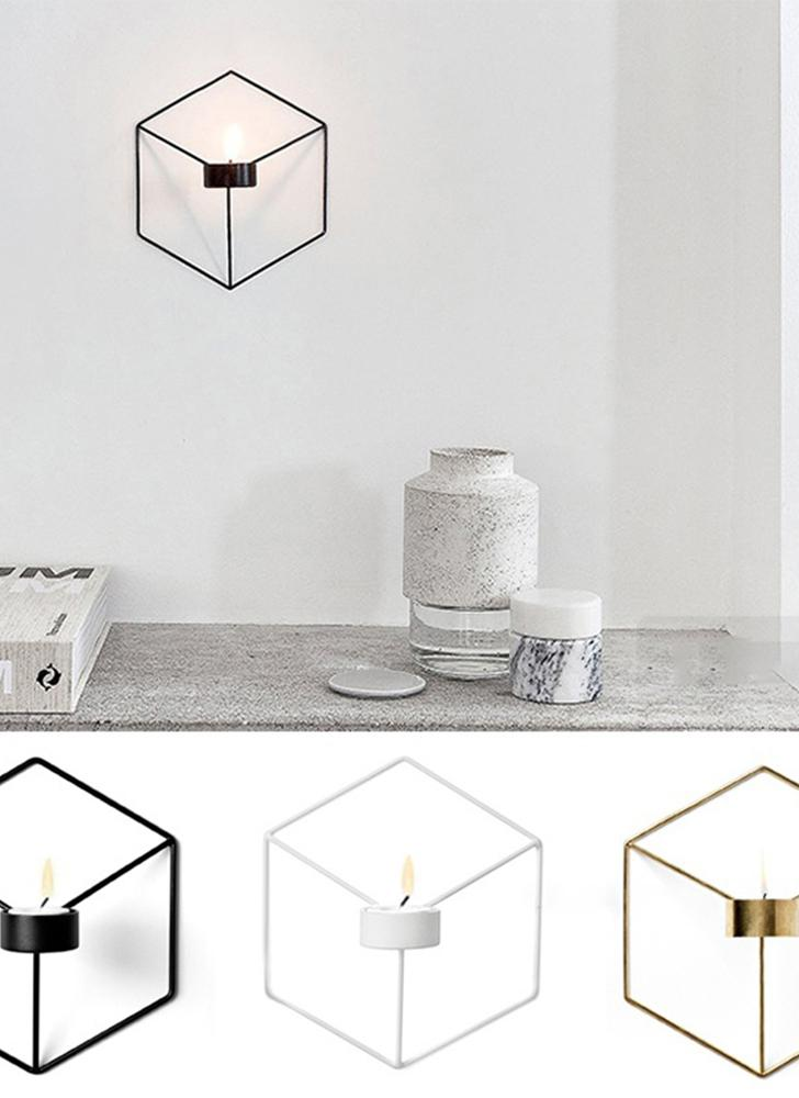 Decorazione della stanza dell'arca del salone del supporto di candela della parete del metallo del candelabro di arte 3D geometrica