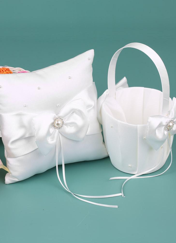 7 * 7 inches White Satin Bowknot Rhinestone Decorated Ring Bearer Pillow and Wedding Flower Girl Basket Set