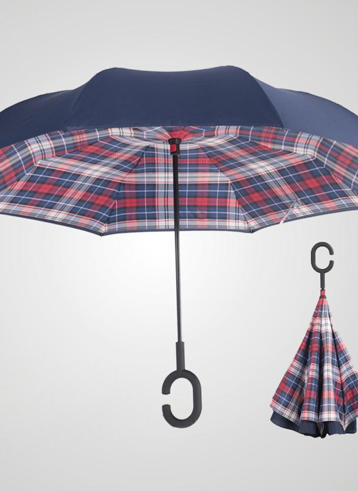 Hands-free Dual Layers Reverse Weatherproof Car Advertising Umbrella Waterproof Inverted   Umbrellas
