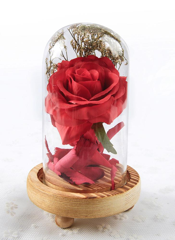 Romantic Artificial Decoration Flowers Glass Cover Fresh Preserved Rose DIY Wedding Decor for Home Birthday Gift