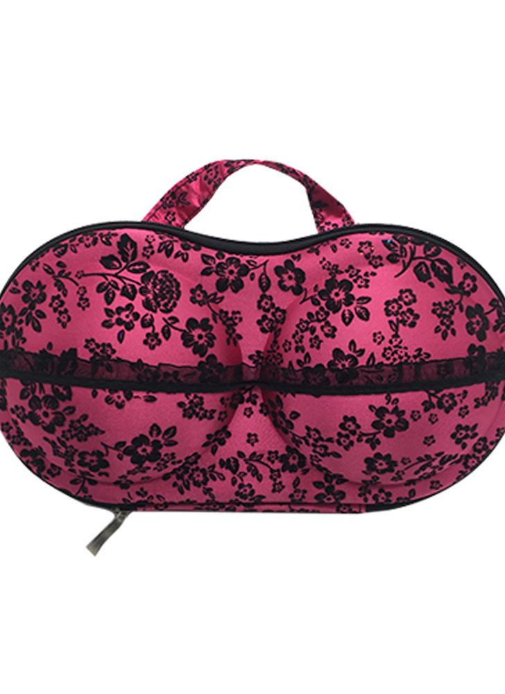Colorful Pattern Underwear Storage Box Portable Bra Bag with Mesh and Handle for Travel Fitness