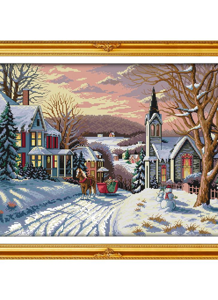 Decdeal DIY Handmade Needlework Cross Stitch Set 58 * 44cm Embroidery Kit 14CT Printed Cross-Stitching Home Decoration