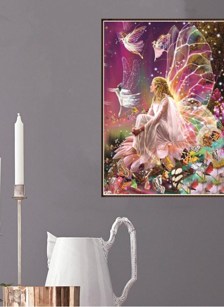 12 * 16 Zoll / 30 * 40cm DIY 5D Diamant Malerei Kit Fairy Harz Strass Mosaik Stickerei Kreuzstich Handwerk Home Wall Decor