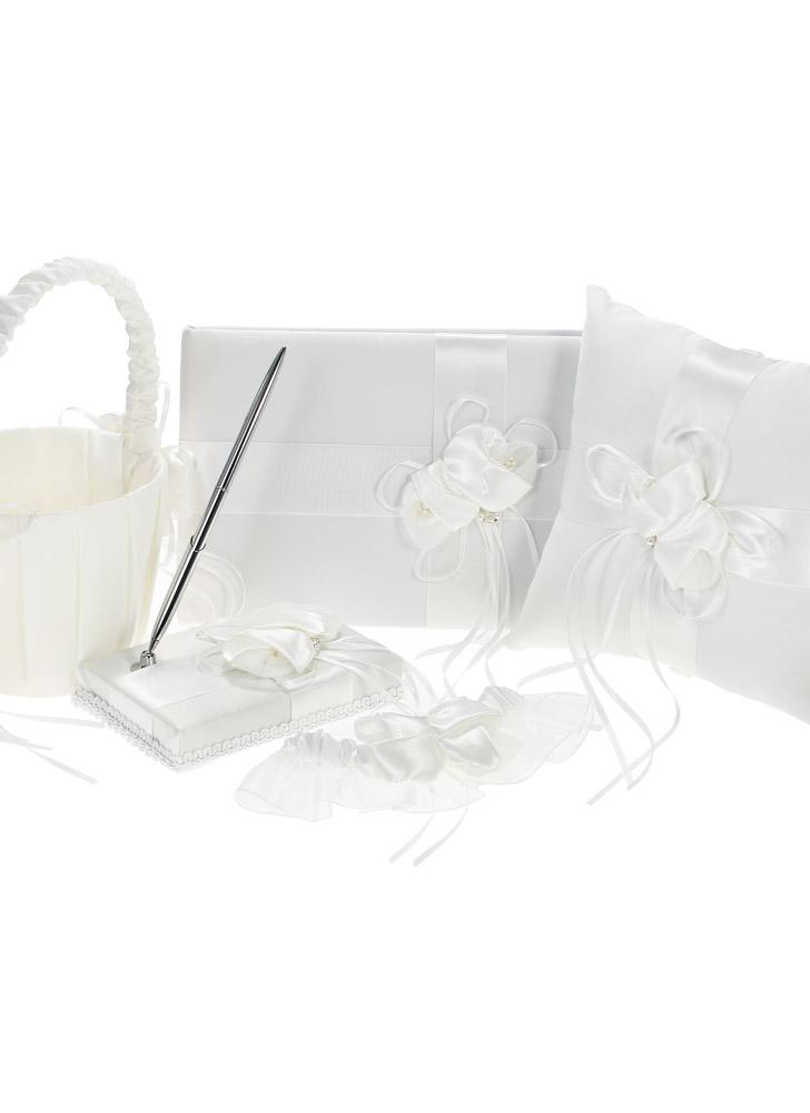 5pcs / set Rifornimenti di cerimonia nuziale bianchi Raso Flower Girl Basket + Ring Bearer Pillow + Guest Book + Portapenne + Set reggicalze Sposa