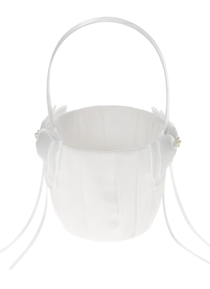Ivory White Satin Wedding Flower Girl Basket with Bowknot Decoration Wedding Supplies