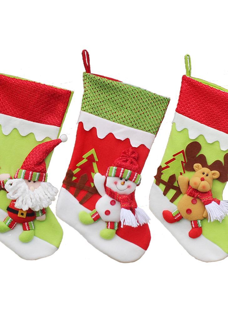 3pcs / set La Navidad que cuelga las medias Navidad del muñeco de nieve de Santa que el regalo del reno empaqueta los ornamentos de Decoartions de la Navidad